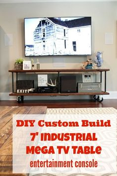 How to Build a Custom Console Table do it yourself instructions for creating a 7' mega industrial style entertainment center for under your big screen tv.