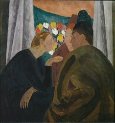 Conversation (1916) by Vanessa Bell (1879-1961), English painter and interior designer, a member of the Bloomsbury group and the sister of Virginia Woolf. She was encouraged by the Post-Impressionist exhibitions organized by Roger Fry and she copied their bright colors and bold forms in her artworks. In 1914, she turned to abstraction. Bell rejected the examples of Victorian narrative painting and rejected a discourse on the ideal and aberrant qualities of femininity - (WikiArt)