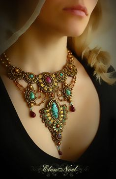 Indira Necklace Bead Embroidery Art by JewelryElenNoel on Etsy, $460.00