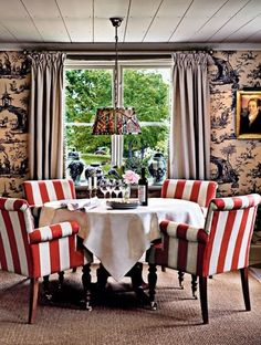 Dining room, red stripped dining chairs, toile wallpaper, via: something borrowed, something new