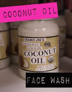 Coconut oil face wash. So great because it's so simple and so very effective. Another great use for coconut oil. Just grab a handful, massage onto face. Let a warm washcloth cover your mug :) for about 10 secs. And then wipe clean. Done!