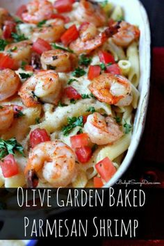 Olive Garden Baked Parmesan Shrimp ¼ Cup of Butter Fresh Parsley ½ Pound of Jumbo Shrimp – Uncooked, deveined 1 Pound of Penne Pasta 4 ounces butter 1 pint heavy cream 2 Tablespoons of Bread Crumbs 1 (Butter Shrimp Recipes) Baked Parmesan Shrimp Recipe, Baked Shrimp Recipes, Shrimp Recipes For Dinner, Garlic Butter Chicken, Seafood Recipes, Cooking Recipes, Healthy Recipes, Copycat Recipes, Seafood Casserole Recipes