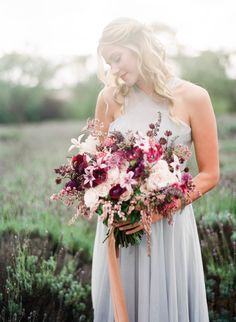 Misty Lavender Field Bridal Portrait. Nature-inspired hand tied bridal bouquet with rich berry and taupe tones, tied with raw silk.
