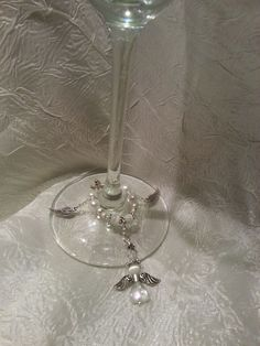 Beautiful Beaded White & Silver Angel Wine Glass  wedding flute Charms and Bling #ByLisaAnn