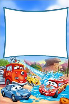 Carros Disney Route 66 #carrosdisney Happy Birthday Frame, Birthday Frames, Cute Frames, Picture Frames, Birthday Greetings, Birthday Cards, Disney Frames, Photo Frame Design, Printable Frames