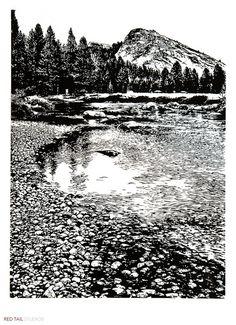 Lembert and Tuolumne - Yosemite, Meadows, River and Granite Domes, Linocut…