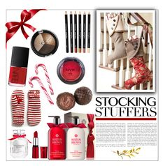 """""""Stocking Stuffers"""" by moosegodstiel ❤ liked on Polyvore featuring beauty, NARS Cosmetics, Hershey's, Victoria's Secret and NYX"""