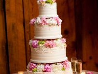 Lush layers of pink, white and green hydrangea complement Sweet Memories beautiful cake. Photography by F8 Photos