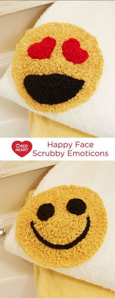 Happy Face Scrubby Emoticons Free Crochet Pattern in Red Heart Yarns -- Whether you use these in the bathroom or kitchen, they will add a happy note to the job at hand. Crochet them quickly in the round and then add the facial features. They are a great gift for social media fans or someone who makes you smile!