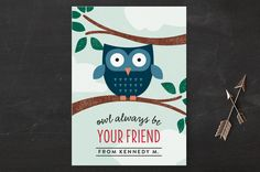 Owl Be Your Friend Classroom Valentine's Day Cards by Erica Krystek at minted.com