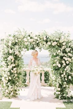 27 Lush Floral Wedding Arches That Impress - Wedding Arch White Roses Wedding, Floral Wedding Decorations, Wedding Ceremony Flowers, Ceremony Decorations, Wedding Bouquets, White Wedding Arch, Wedding Arch Greenery, Wedding Ceremony Ideas, Wedding Arbors