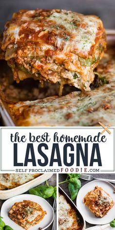 Grannys Classic Homemade Lasagna Recipe Has Been Perfected Over The Years. This Is The Absolute Best Lasagna Recipe You Will Ever Find Italian Sausage, Spinach, Basil, And Four Melted Cheeses Come Together In This Satisfying And Flavorful Dinner. Spinach And Meat Lasagna, Italian Sausage Lasagna, Lasagna Recipe With Ricotta, Italian Sausage Recipes, Cajun Lasagna, Homemade Lasagna Recipes, Creamy Pasta Recipes, Yummy Pasta Recipes, Homemade Pasta