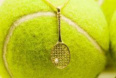 ******SALE****** Only 340$ Small Diamond 14k Gold Tennis Racket Necklace by DiamondoJewelry