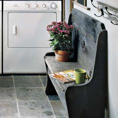 slate floor - this indoor/outdoor paver is a good option for wet areas.   Unlike polished stone tiles, which can get slick, slate's textured matte surface provides traction.  Could I do this in the back hall/laundry, half bath and pantry?
