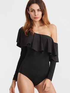 50a9102eff Black Two Way Off The Shoulder Ruffle Bodysuit Style Wish