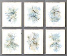 Set of 6 Abstract Prints Wall Art, Watercolor Prints of Original Artwork for Walls, Grey Blue Brown Modern Minimalist Dining Room Wall Decor
