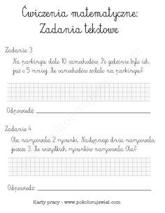 Karty-pracy-dla-dzieci-zadania-tekstowe-ćwiczenia-do-wydruku-zadania-matematyka-dla-dzieci-za-darmo (1) 5 W, Science For Kids, Mathematics, Hand Lettering, Kindergarten, Math Equations, Education, School, Quotes