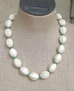 white  turquoise blue chunky chrysoprase  necklace. $54.00, via Etsy.