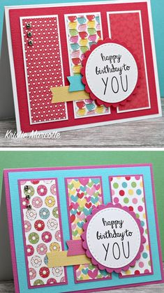Strips of patterned scrapbook paper are matted and really shine in this cute card layout! Simple Birthday Cards, Bday Cards, Kids Birthday Cards, Handmade Birthday Cards, Greeting Cards Handmade, Diy Birthday, Birthday Design, Mum Birthday Card, Simple Handmade Cards