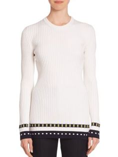 Victoria Beckham - Rib-Knit Striped Hem Top