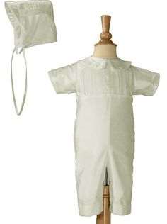 White Pin Tucked Silk Shantung Christening Baptism Coverall