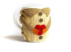 Crochet Heart Mug Warmer, Cup Cozy, Cup, Buttoned Mug Seater, Crochet Mug, Crochet Heart, Mug Heart