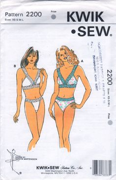 Kwik Sew 2200  Misses Lingerie Lace Bra and Lace Panties Bikini and High Cut leg womens sewing pattern by mbchills