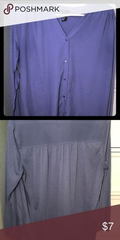 H&M Button Down Blouse Button down blue blouse.  Blue is brighter then navy but not as bright as first photo.  Different material on front and back of blouse. H&M Tops Blouses