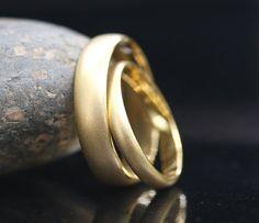 Wedding Band Set 14k Yellow Gold Brushed Matte finish 5mm and 3mm. $599.00, via Etsy.