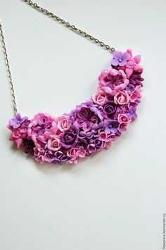 Polymer clay flowers necklace