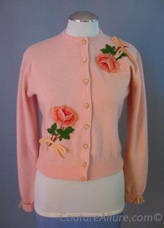 Vintage 50s DALTON Cashmere Sweater Embroidered Roses