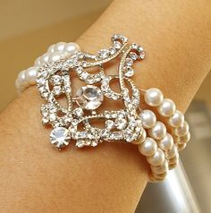 Art Deco Style Filigree Bridal Bracelet, Pearl Wedding Bracelet Cuff, Vintage Style Wedding Jewelry,  Ivory White Pearl Bracelet, ALESSANDRA
