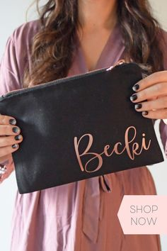 Finding a gift for your bridesmaids they'll be able to use well beyond your wedding day can be difficult, but not with our custom makeup and tote bags. A thoughtful and practical gift, you can customize our bags with their name or monogram. With up to 12 characters available for personalization, you're only limited by your creativity! Monogrammed Bridesmaid Gifts, Bridesmaid Gifts Unique, Bridesmaid Gift Bags, Bridesmaid Bracelet, Bridesmaid Robes, Bridesmaids, Bridal Party Shirts, Bridal Party Robes, Bridesmaid Makeup Bag