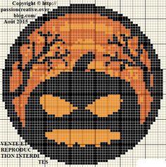 Grille gratuite point de croix : Halloween - Médaillon citrouille - Le blog de Isabelle