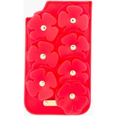 BURBERRY PRORSUM Strawberry Red Deerskin & Vinyl Floral Appliqué Iphone Case ($365) found on Polyvore