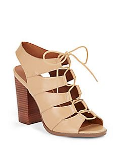 Saks Fifth Avenue - Leather Lace-Up Chunky Heel Sandals