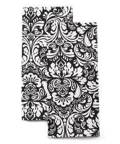 Design Imports Black Damask Dish Towel - Set of Two