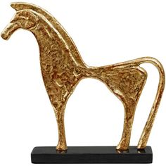 Bungalow 5 Trojan Gold Statue ($124) ❤ liked on Polyvore featuring home, home decor, decor, black sculpture, gold home accessories, bungalow 5, horse sculpture and gold home decor