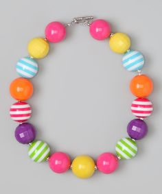 Take a look at this Pink & Yellow Tutti Fruitti Bead Necklace by Daizy Bugz on #zulily today!