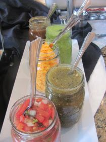 ME Catering: Taco Bar Graduation Party    @Brooke Williams Stacey-- if you do a burger bar...get some type of uniform jar or vases that you can put condiments in with spoons :)