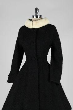 Vintage 1950's Lilli Ann Wool Boucle Mink Collar Princess Coat image 5
