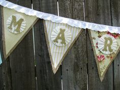 MARRY ME burlap pennant banner  CUSTOM by crepeconfectionary, $70.00