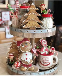 24 Must-See Christmas Kitchen Decor Ideas - christmas dekoration 24 Must-See Christmas Kitchen Decor Ideas - Kimberly Flathers 24 Must-See Christmas Kitchen Decor Ideas Tiered Tray with Gingerbread Cookies and Sweets - Kitchen Christmas Decor via Gingerbread Christmas Decor, Gingerbread Decorations, Indoor Christmas Decorations, Noel Christmas, Gingerbread Cookies, Christmas Cookies, Christmas Sweets, Christmas 2019, Christmas Ornament