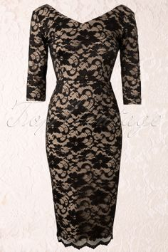 So Couture - Burbank Champagne and Black Lace Pencil Dress