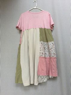 Pink Shabby chic dress Upcycled Patchwork by SimplyCathrineAnn