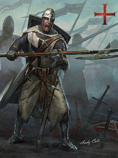 m Cleric Medium Armor Helm Shield Halberd Longsword Dagger male Battle fog eastern border lg Medieval Knight, Medieval Fantasy, Dark Fantasy, Knights Templar History, Silver Knight, Crusader Knight, Dragon Armor, Christian Warrior, Custom Temporary Tattoos