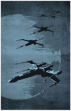 Poster set includes: 1 Millenium Falcon Poster 1 The Destroyer and Tie Fighter Poster 1 X Wing Fighter  * Poster size 11 x 17 * Digital printed on 250g
