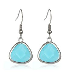 Hot 2016 New Fashion Wedding Jewelry Real Gold Plated Waterdrop Blue Resin Beads Drop Dangle Long Earrings For Women