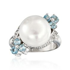 11.5-12mm Cultured Pearl and 1.10 ct. t.w. Blue and White Topaz Ring in Sterling Silver