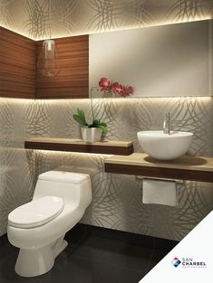 Ideas para que te inspires a decorar baños pequeños y modernos Bathroom Design Small, Bathroom Interior Design, Modern Bathroom, Wood Bathroom, Washroom, Design Kitchen, Bad Inspiration, Bathroom Inspiration, Toilette Design